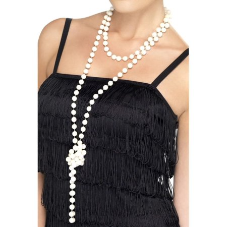 Girl Pearl Earring Halloween Costume (Womens Roaring 20s Flapper Girl Pearl Necklace Faux Jewlery Costume)