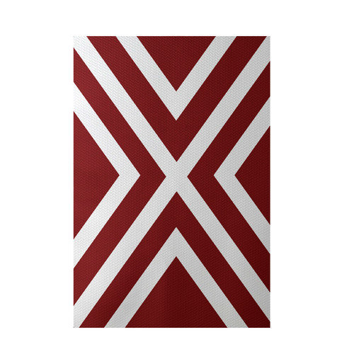 E By Design Stripe Red Indoor/Outdoor Area Rug