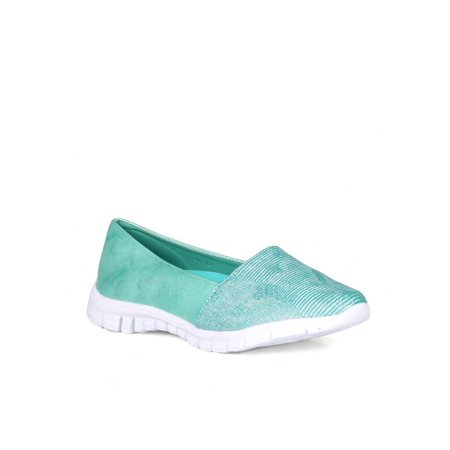 Nature Breeze Metallic Snakeskin Women's Slip Ons in Seagreen 3' Firepower Slip Ons