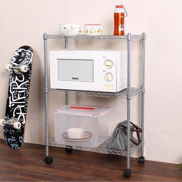 Homdox 3-Tier Wire Shelf Shelving Unit Modern Rolling Cart Rack with Wheels