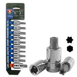 10 Piece Universal Brake Caliper Socket Wrench Tool Set Kit Metric SAE Hex Torx