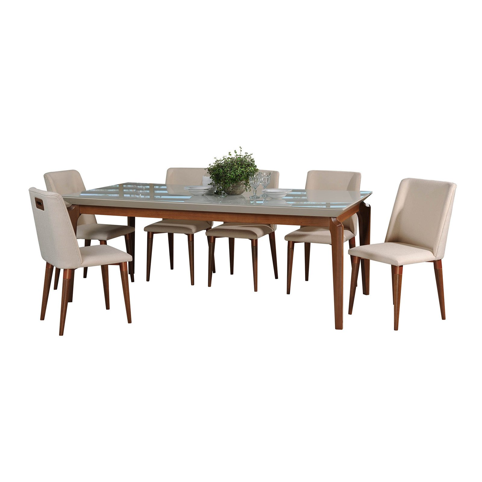 Manhattan Comfort Payson and Tampa 7 Piece Dining Table Set