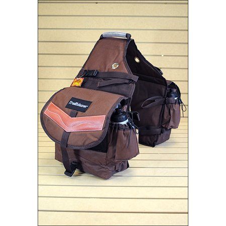 BROWN 600D POLY DELUXE HORSE TRAIL RIDING SADDLE BAG PACK WATER (Deluxe Trail Saddle)