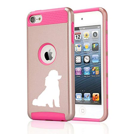 Shockproof Impact Hard Soft Case Cover for Apple (iPod Touch 5th / 6th) Miniature Poodle Toy Poodle (Rose Gold-Hot Pink)