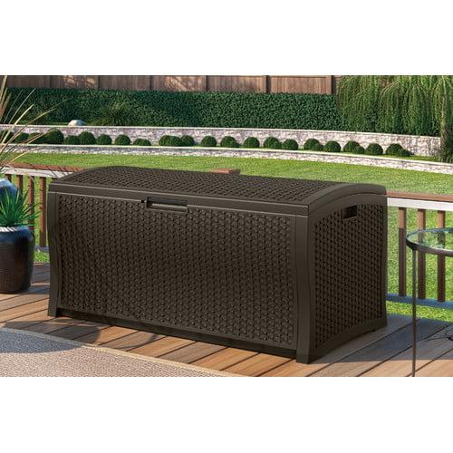 Suncast 122 Gallon Java Resin Wicker Deck Box DBW9935 by Suncast