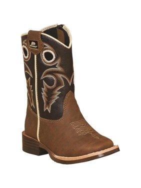 DBL Barrel 4449202-09.5 Boys Trace Zipper Cowboy Boot Square Toe, Brown - Size 9.5