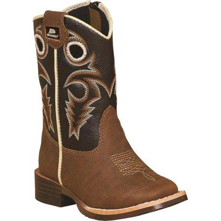 Cowboy Boot Spats (DBL Barrel 4449202-09.5 Boys Trace Zipper Cowboy Boot Square Toe, Brown - Size)