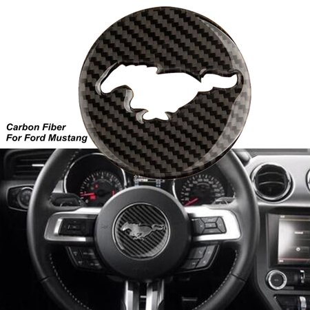 - Carbon Fiber Interior Steering Wheel Decor Trim Sticker For Ford Mustang 15-17