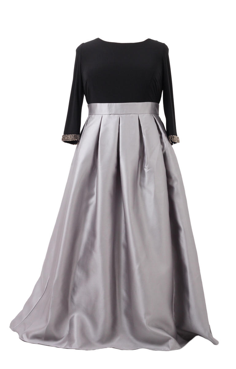 Ignite Evenings NEW Silver Black Womens 16W Plus Embellished Gown ...