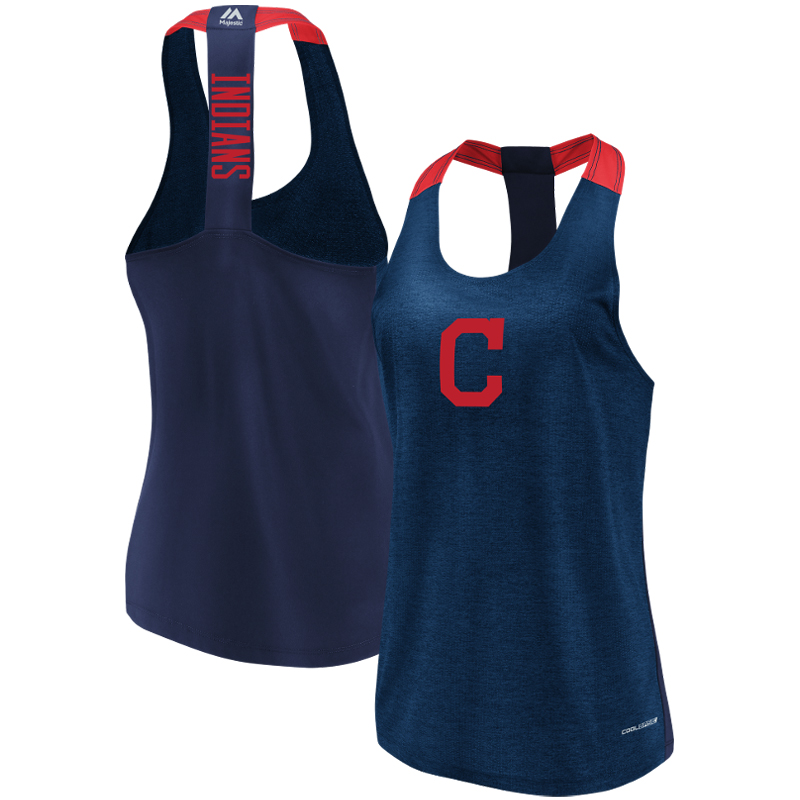 Cleveland Indians Majestic Women's Desire More Cool Base Tank Top Navy by MAJESTIC LSG