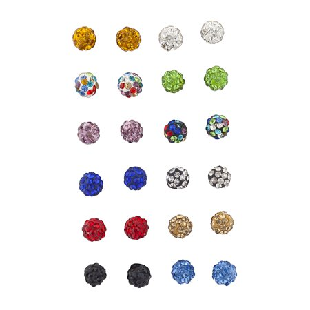 Lux Accessories Multicolor fireball Faux Rhinestone Earring Multi Pack Set 12PR