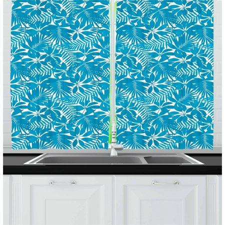 Aqua Curtains 2 Panels Set, Tropical Tree Leaves Pattern Hawaiian Nature and Vegetation Foliage in Blue and White, Window Drapes for Living Room Bedroom, 55W X 39L Inches, Blue White, by Ambesonne (Tropical Foliage)