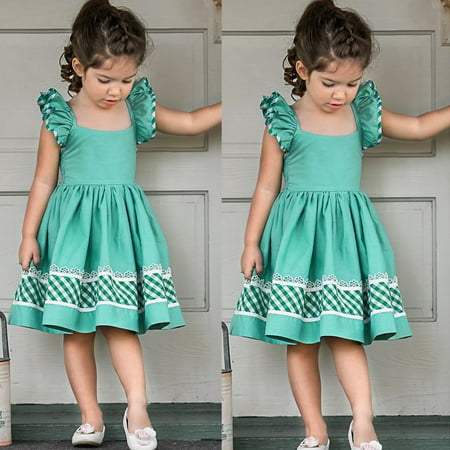 Fly Fancy Dress (Kids Baby Girls Fly Sleeve Prom Party Short Dress Summer Clothes Skirt Outfit Sundress 0-1)