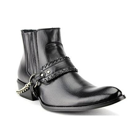 - Alberto Fellini Men's Western 5 Belt & Chain Tall Biker Boots