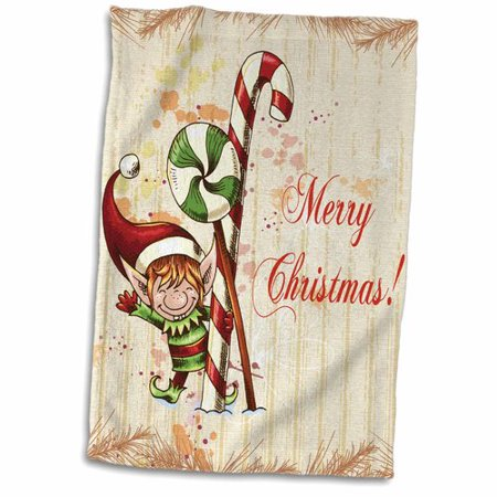 The Holiday Aisle Cute Christmas Elf With Peppermint and Candy Cane Merry Christmas Xmas Holiday Greeting Hand - Candy Cane Candy Corn Elf