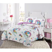 Golden Linens Twin Size Kids Bedspread Quilts Throw Blanket for Teens Girls Bed Printed Bedding Coverlet White Violet Purple Unicorn Princess # Twin 19-08