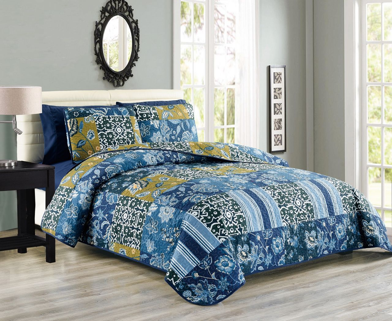 Click here to buy 6 Piece Floral Geometric Patchwork Reversible Bedspread Quilt with SHeet Set.