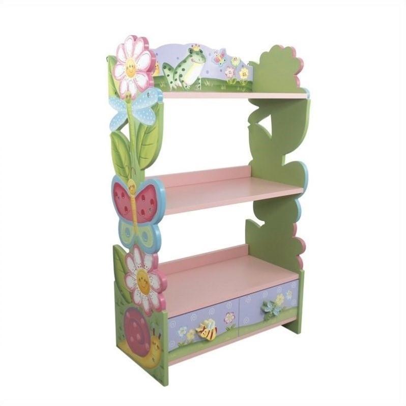 Fantasy Fields Magic Garden Kids Bookshelf, 3-Tier with Storage Drawer