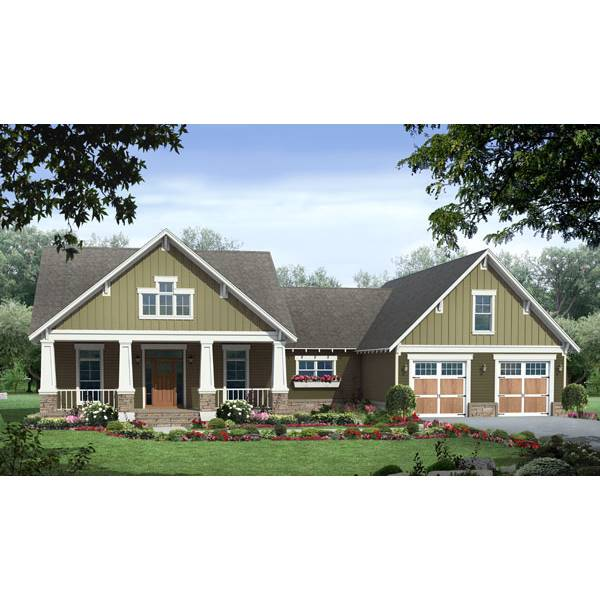TheHouseDesigners-7142 Modest Country House Plan with Slab Foundation (5 Printed Sets)
