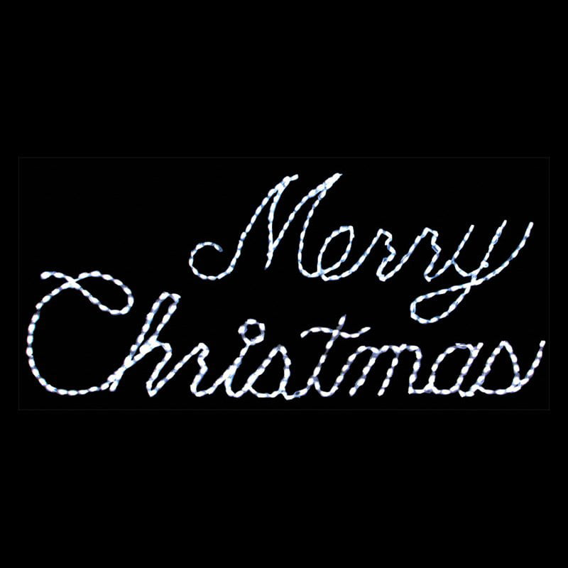32 in. Outdoor LED White Merry Christmas Sign Lighted Display ...