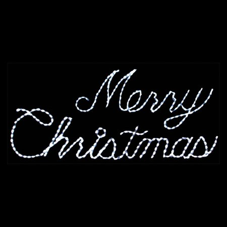 Outdoor Led White Merry Christmas Sign Lighted Display 300 Bulbs