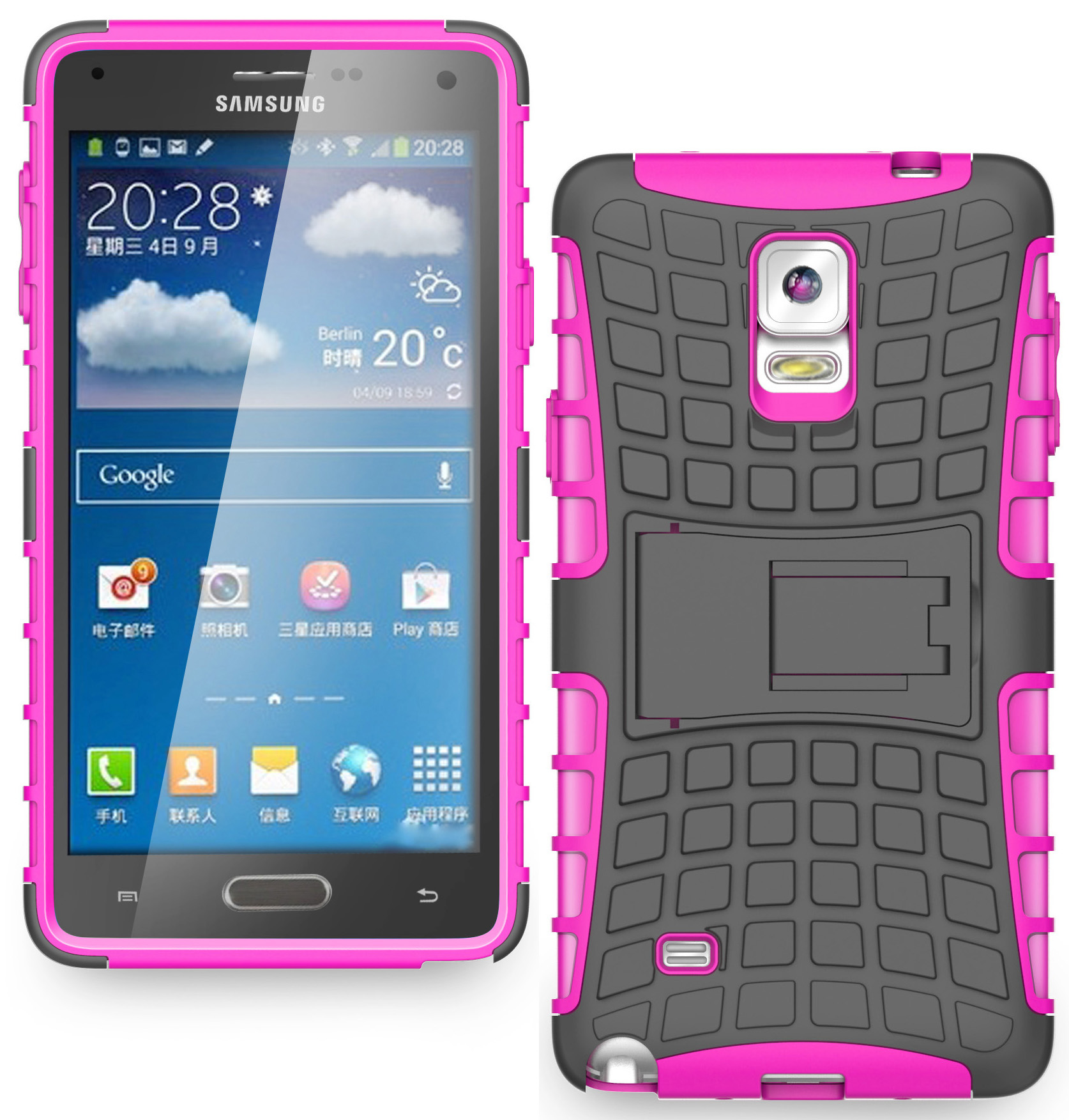 NAKEDCELLPHONE'S PINK GRENADE GRIP RUGGED SKIN HARD CASE COVER STAND FOR SAMSUNG GALAXY NOTE 4 (AT&T, T-MOBILE, SPRINT, VERIZON, US CELLULAR, UNLOCKED, N910V, N910R4, N910T, N910P, N910, N910C)