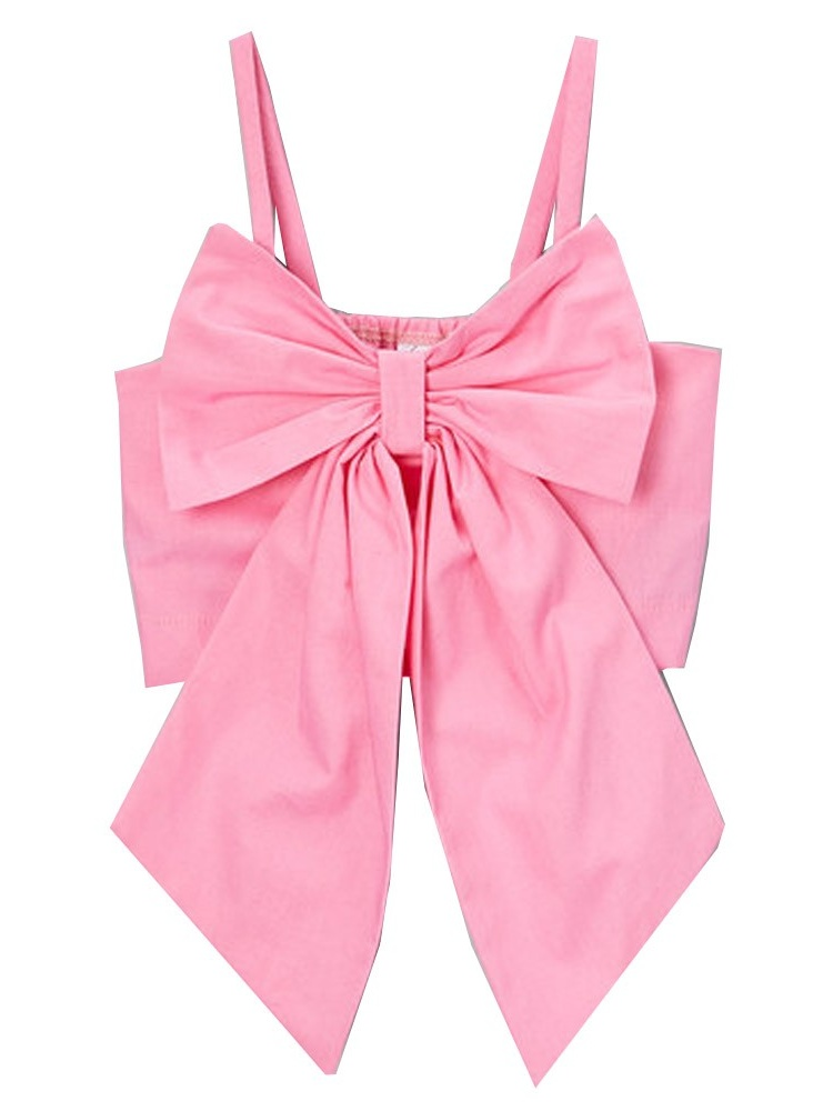 Little Girls Pink Solid Color Oversized Bow Spaghetti Strap Shirt 12M-6