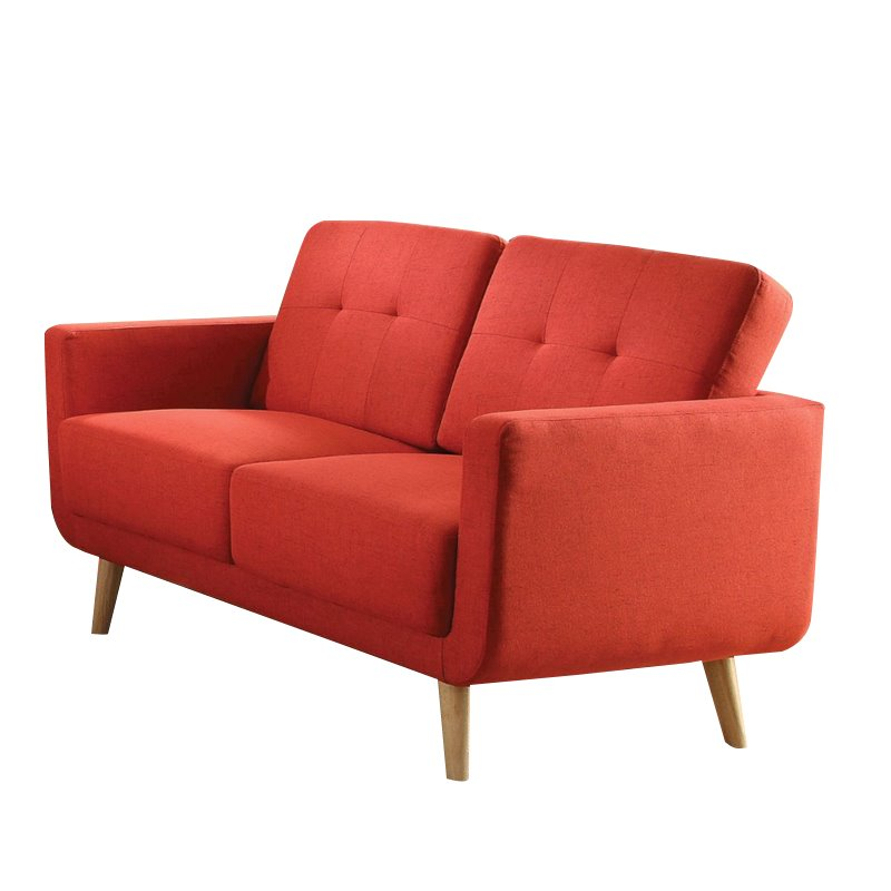 ACME Sisilla Mid-Century Loveseat, Red Linen