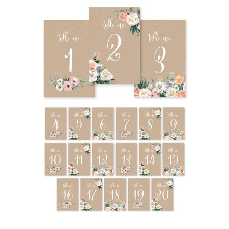 Peach Coral Kraft Brown Rustic Floral Garden Party Wedding, Table Numbers 1 - 20 Single-Sided, 4 x 6-inch](Diy Wedding Table Numbers)