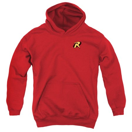 Trevco BATMAN ROBIN LOGO Medium Red Child Unisex Hooded - Batman And Robin Young Justice