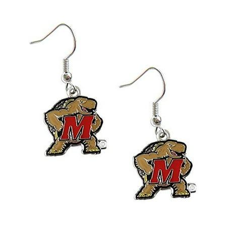 - Maryland Terps Terrapins Dangle Logo Earring Set Ncaa Charm Gift