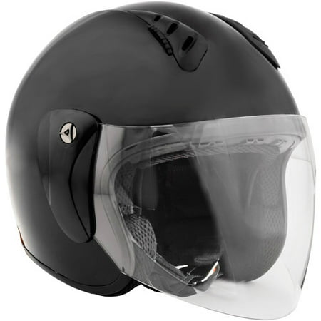 Fuel Helmets, SH-WS0016, Open-Face Helmet With Shield, Matte Black, Large
