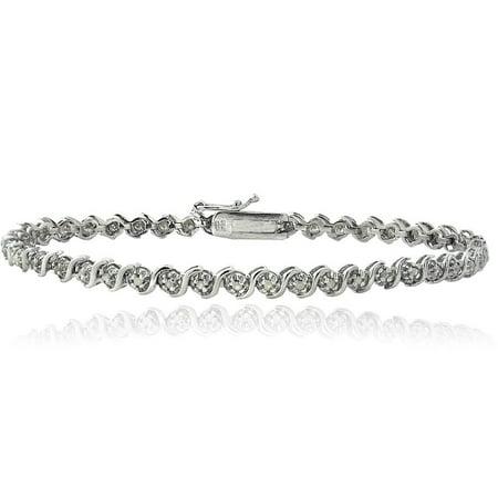 - Sterling Silver 1/4ct Diamond S Design Tennis Bracelet