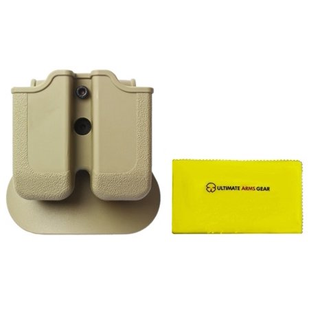 Imi Defense Z2030 Mp03 Double Magazine Pouch 360  Rotate Holster Magnum Baby Eagle  9 40   Ruger P89 P95  Desert Tan   Ultimate Arms Gear Care Silicone Cleaning Cloth