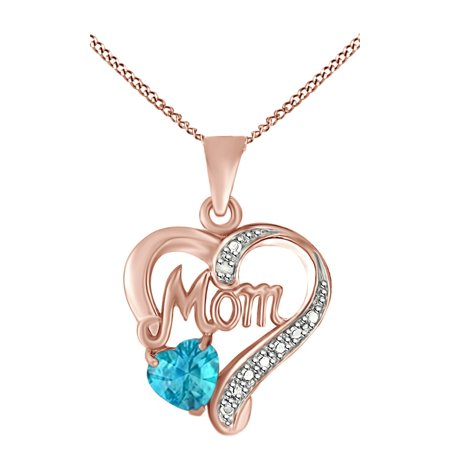 Simulated Blue Topaz & White Natural Diamond Mom Heart Pendant Necklace in 14k Rose Gold Over Sterling - Blue Topaz Diamond Necklace