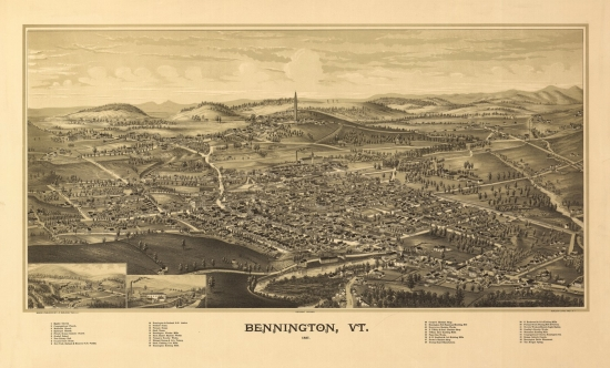 Old Map of Bennington Vermont 1887 Bennington County Canvas Art (18 x 24) by Supplier Generic