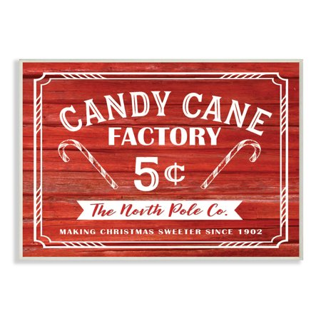 Factory Sign - The Stupell Home Decor Collection Candy Cane Factory Vintage Sign Oversized Wall Plaque Art