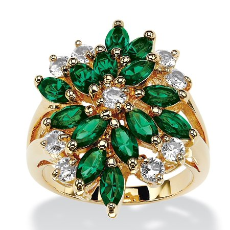 Marquise-Cut Emerald Green Crystal Cluster Cocktail Ring MADE WITH SWAROVSKI ELEMENTS 18k (Swarovski Emerald Green Crystal)