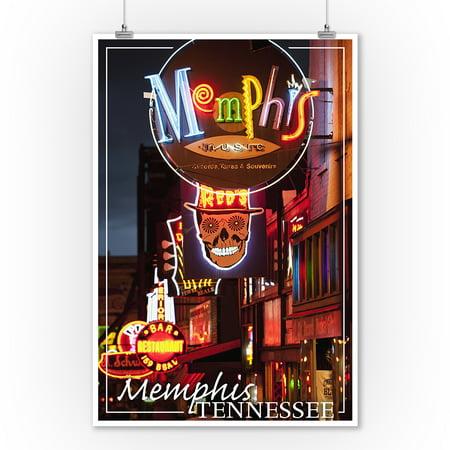 Memphis Tn Beale Street (Memphis, Tennesseee - Beale Street - Lantern Press Photography (9x12 Art Print, Wall Decor Travel Poster) )