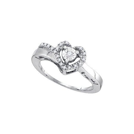 Diamond Ladies Heart Ring (Sterling Silver Womens Round Diamond Heart Love Promise Ring 1/10 Cttw )