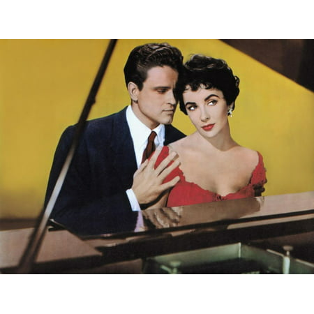 Elizabeth Real Photo - RHAPSODY, 1954 directed by CHARLES VIDOR John Ericson and Elizabeth Taylor (photo) Print Wall Art