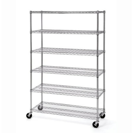 Wire Shelf With Wheels   Seville Classics 6 Tier Ultrazinc Nsf Steel Wire Shelving With
