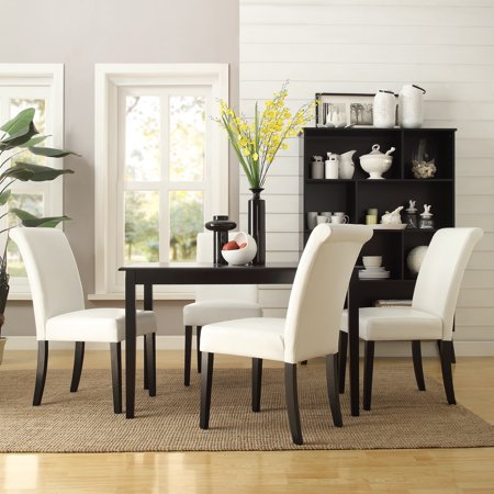 Lexington 5 Piece Dining Set With 4 Parsons Chairs White