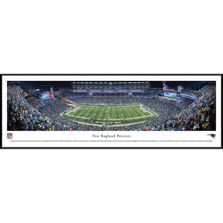 New England Patriots - 50 Yard Line at Gillette Stadium - Blakeway Panoramas NFL Print with Standard Frame ()