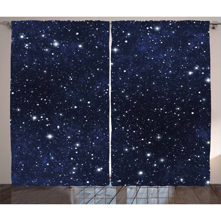 Night Curtains 2 Panels Set, Star Filled Dark Sky Vivid Celestial Theme Cosmos Galactic Cluster Constellation, Window Drapes for Living Room Bedroom, 108W X 63L Inches, Dark Blue White, by Ambesonne