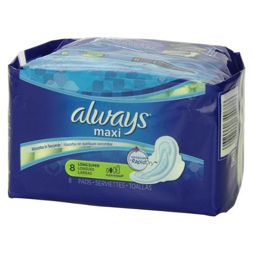 Always Maxi Super Long Flexi-Wings Pads 8 ea (Pack of 4)
