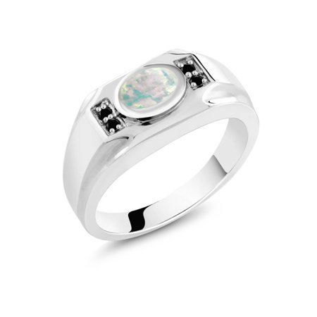 1.18 Ct Oval White Simulated Opal Black Diamond 925 Sterling Silver Men's Ring ()
