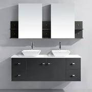 VIRTU USA  Clarissa 61-inch Grey Double Sink Bathroom Vanity Set