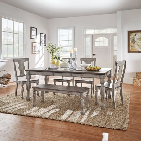 Weston Home Two Tone 6 Piece Extension Dining Set Walmart Com