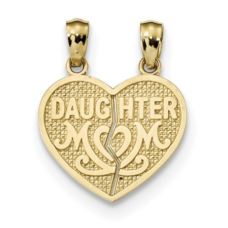Daughter Split Heart Charm - 14k Yellow Gold Satin & Polished Daughter Mom Break Apart Heart Pendant / Charm